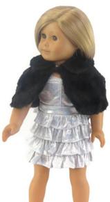 Sleeveless Sparkle Dress, Fur Cape, & Pearl Choker-Silver