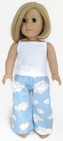 White Tank Top & Blue Cloud Sleeping Pants