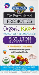 Dr. Formulated Probiotics Organic Kids Plus 5 Billion Organic Berry Cherry 30 Chewables