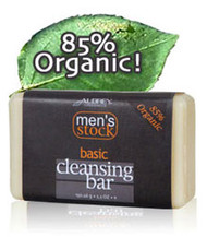 Mens Stock Basic Cleansing Bar by Aubrey Organics is a big, great-smelling natural soap bar with menthol plus organic cleansers perfect for face and all over. Mens Stock Basic Cleansing Bar gives a cool creamy lather that rinses clean and moisturizes.