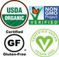 Certified Organic, Non GMO, Gluten Free, Vegan