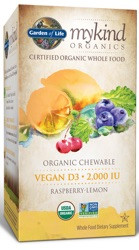 MyKind Organics Vegan D3 Chewable 30 Raspberry-Lemon Tablets
