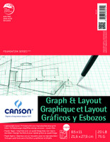 """Canson - Graph & Layout Tape Top 8/8 Grid - 8.5""""x11"""" - 40 Sheets - 20LB"""