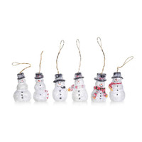 Resin Ornaments - Snowmen with Mica - 1.5 inches - 6 pieces