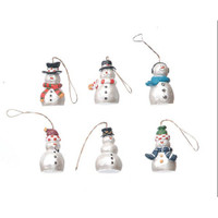 Resin Ornaments - Snowmen - Pearlized - 1.25 inches - 6 pieces