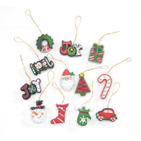 Resin Ornaments - Christmas Symbols - 1.5 inches - 12 pieces
