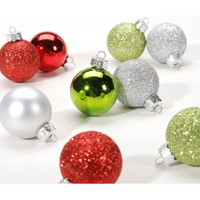 Ornaments - Ball - Red/Green/Silver - 30mm - 9 pieces