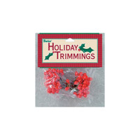 Holly Berries on Wire Stems - Red - 3/8 inch - 144 pieces