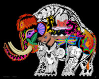 WOOLY MAMMOTH - 16X20 FUZZY VELVET COLORING POSTER INNER NATURE