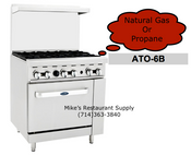 "36"" Range 6 Burner & Gas Oven Cook Rite ATO-6B NEW #6037"