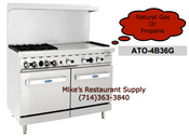 "60"" Range 4 Burners 36"" Griddle & Ovens Cook Rite ATO-4B36G NEW #6046"