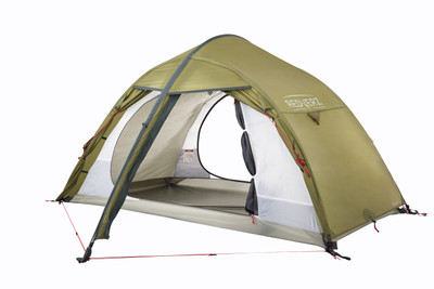 The Hawk II Mountaineering Tent from Redverz Gear.  Shown with vestibule doors completely open and view through to inner tent.