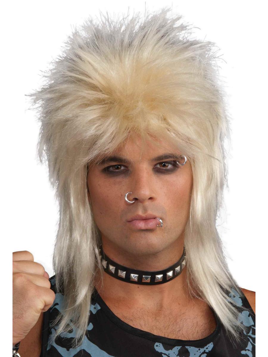 Rock Star Long Blonde Rocker Mens Wig 80/'s Fancy Dress Adult 1980s Costume Wig