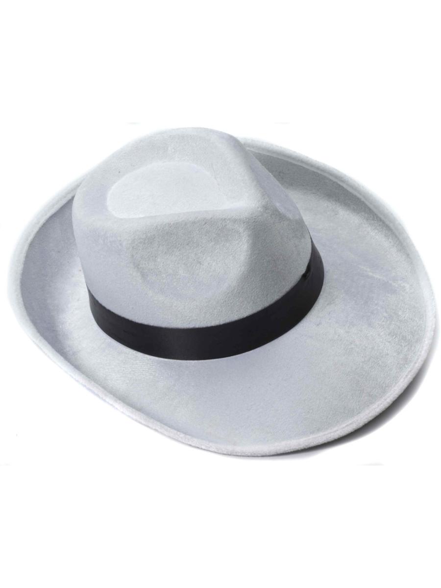 daebab8acf025 White And Black Velvet Gangster Costume Fedora Hat 721773666032   eBay