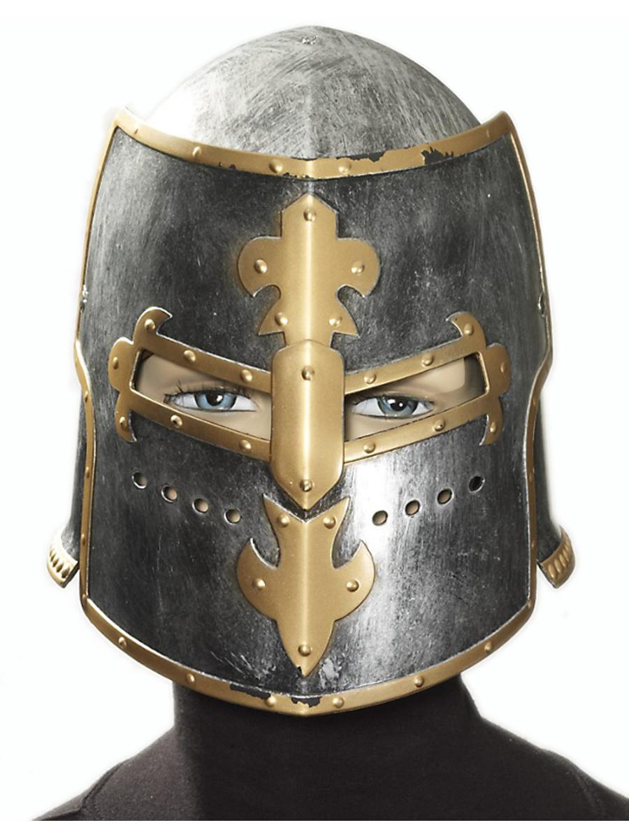 4ad76f751573f Adult Silver Gold Medieval Crusader Knight Warrior Costume Helmet