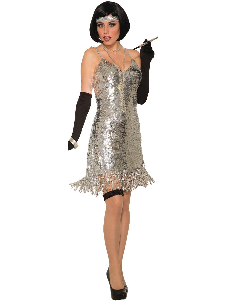 eff12f06 70s Silver Sequin Disco Dress Womens Costume 721773812842 | eBay