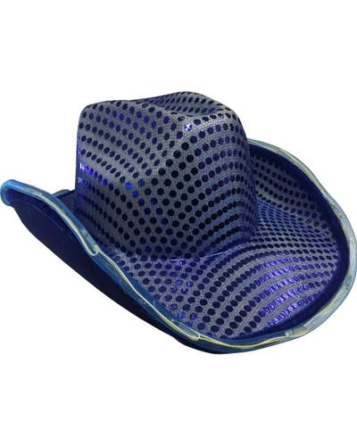 sc 1 st  BlockBuster Costumes & Blue Sequin Light Up Adultu0027s Cowboy Hat