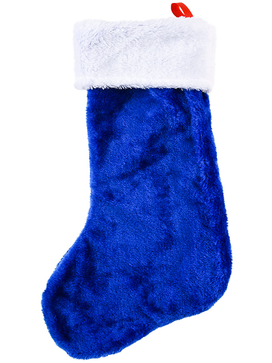 Blue Plush Christmas Stocking
