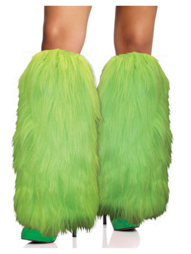 Fuzzy Hot Green Sexy Furry Leg Warmers-3295
