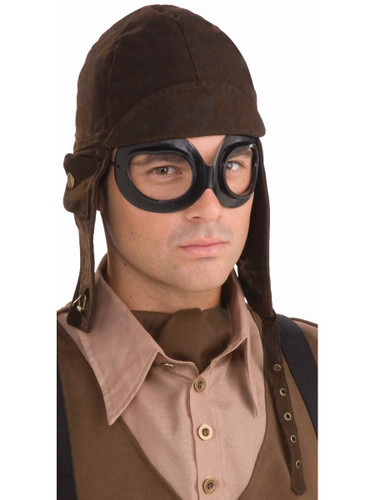 brown aviator hat and goggles set