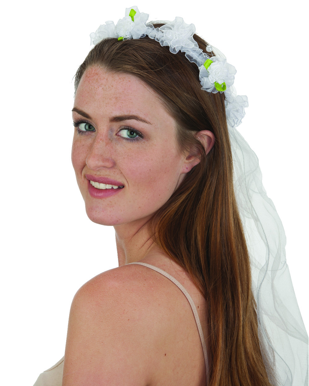 Adults White Flower Headband Veil