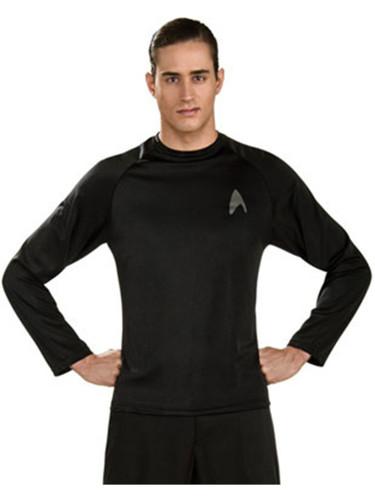 Star Trek Prequel Movie Black Captain Kirk Off-Duty Officer Costume Uniform Shirt-6521