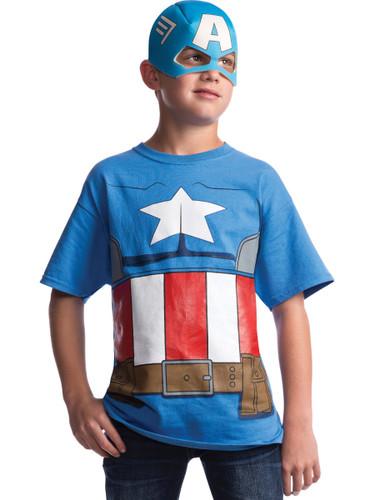 Kid S Avengers Assemble Captain America T Shirt Mask Costume