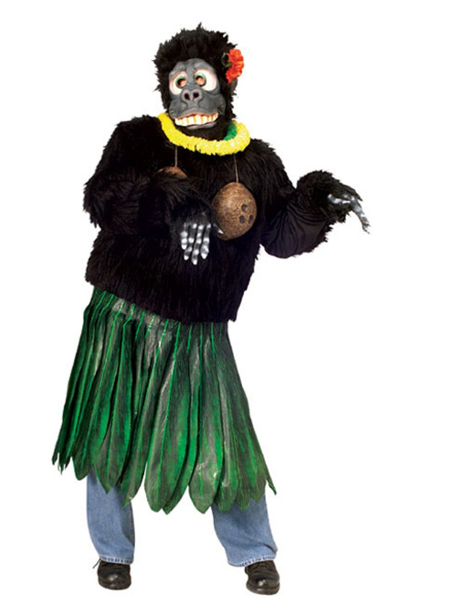 mens large hawaiian aloha gorilla parade or school mascot costume
