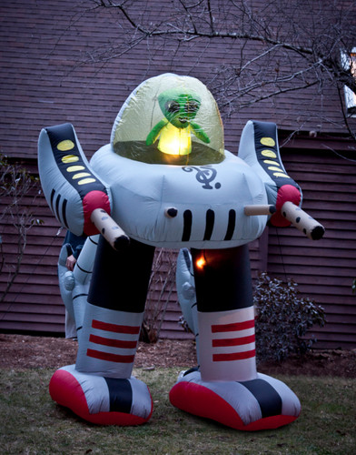 Giant 8 39 inflatable alien robot lawn decoration for Robotic halloween decorations
