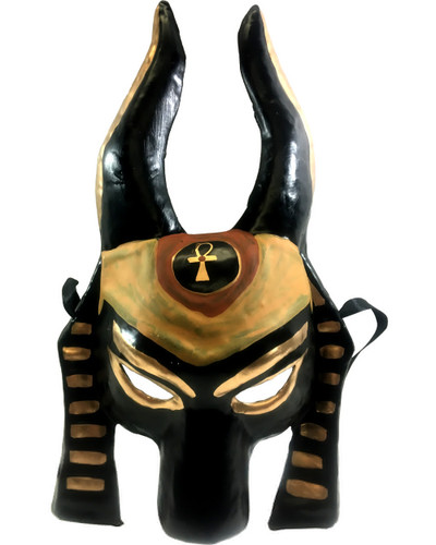adults black and gold painted anubis mask