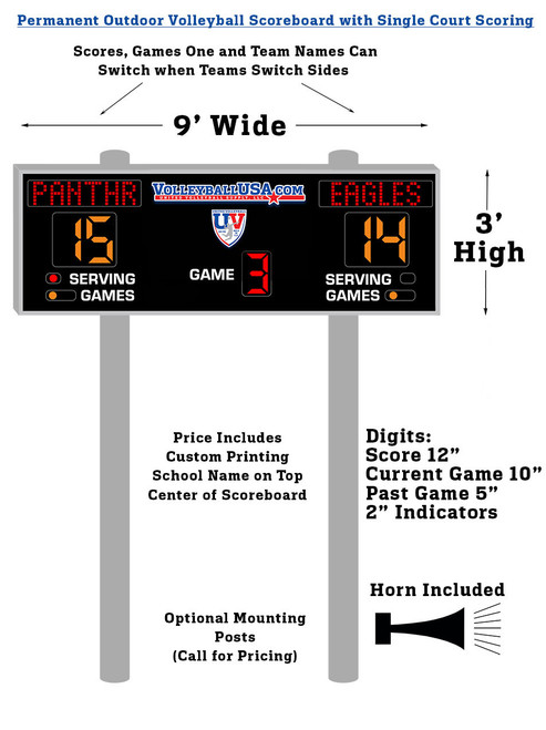 POVS-SC: Permanent Outdoor Volleyball Scoreboard - Single Court