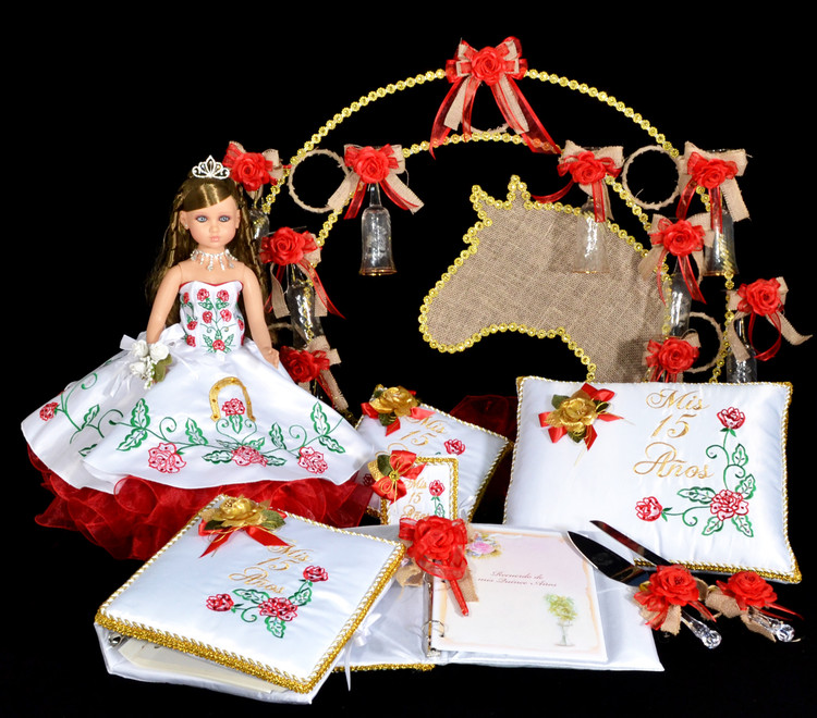 Red Roses Quinceanera Package Toasting Set, Doll, Pillows, Guest Book, Album, and Cake Server #QSP144