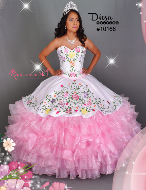 Multi Color Flowers Quinceanera Dress #10168QM