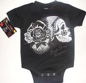 Drop Dead Gorgeous Sugar Skull Onesie in Black.