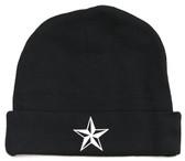 Black Baby Beanie Hat with White Nautical Star