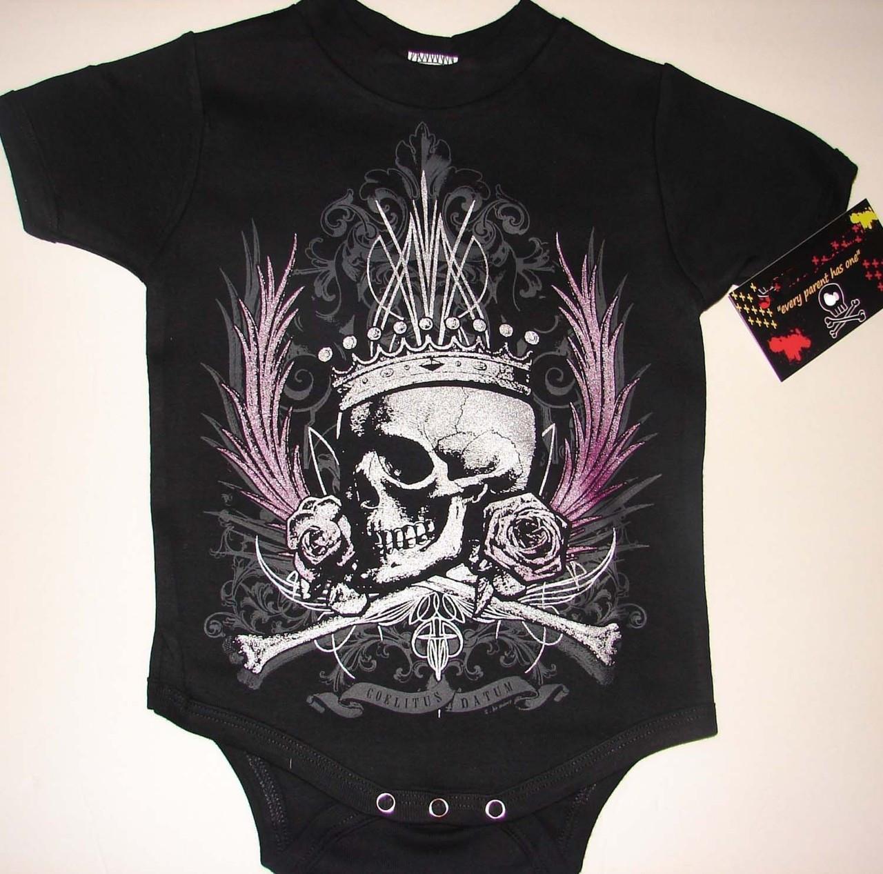Punk Rock Crown Skull Roses Metallic Black Baby Onesie or ...