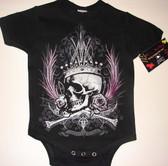 Punk Baby Onesie or Toddler T-Shirt: Skull Crown & Roses