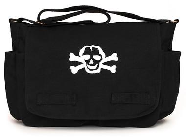 Black Diaper Bag with White Skull Front