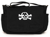 Black Diaper Bag with White Skull Front