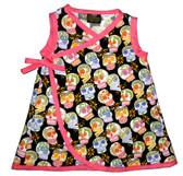 Punk Rock Baby Kimono Baby Dress: Black Sugar Skulls