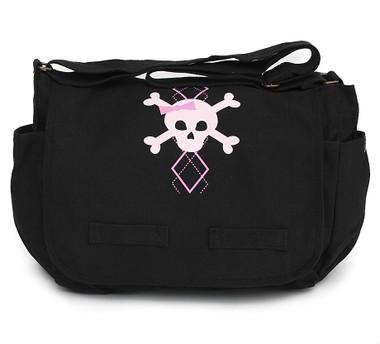 Black Canvas Diaper Bag with Pink Argyle Skull Front