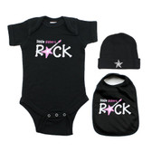 Little Sisters Rock Pink Guitar 3 Piece Baby Gift Set