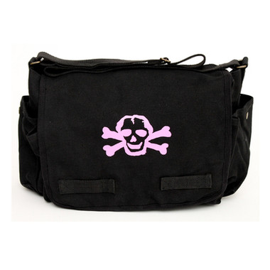 Black Diaper Bag with Pink Skull Front
