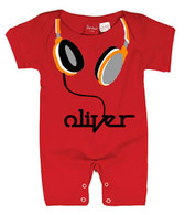 Punk Rock Personalized Short Sleeve Baby Romper: Headphones