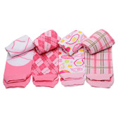 Cute Pink & White Preppy Baby & Toddler Leg Warmers.