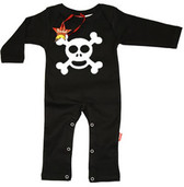 Punk Rock Long Sleeve Romper: Skull