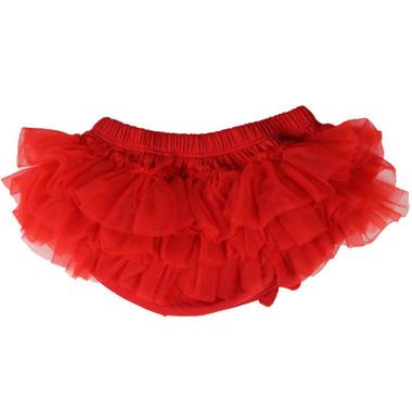 Red Chiffon Tutu Diaper Cover.