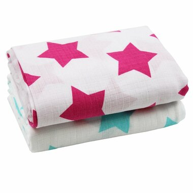 Muslin Blanket: Turquoise & Hot Pink Stars