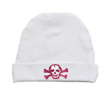 Pink GLITTER Skull on White Baby Beanie Hat