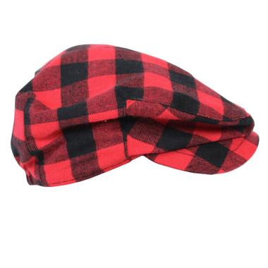 Red Plaid Newsboy Baby Hat